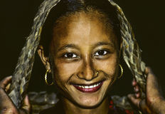 Young female girl is happy and smiles in Pokhara, Nepal Stock Photo