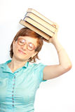 Young female with glasses and book Royalty Free Stock Photo