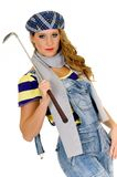 Young female golfer. Trendy looking young female golfer, studio shot white background Stock Photos