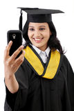 Young female graduated student taking selfie Royalty Free Stock Images