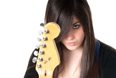 Young female with guitar isolated. Young female with guitar head on white background Stock Photography