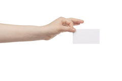 Young female hand hold blank white paper card Stock Photography