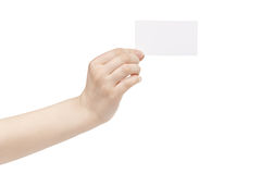 Young female hand hold blank white paper card. Isolated on white Royalty Free Stock Image