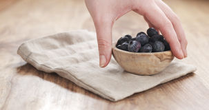 Young female hand putting bowl of blueberries on table Stock Photography
