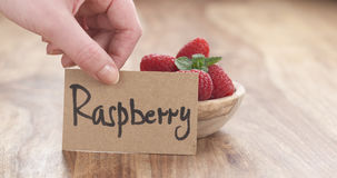 Young female hand putting paper card near bowl of raspberries on table Stock Image