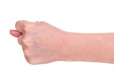 Young female hand. Female hand shows a gesture isolated over white background Stock Image