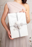 young female hands holding gift, Woman giving  box, Christmas and new year concept Stock Images