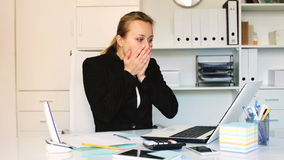 Young female having lot of work in the office stock video footage
