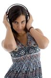 Young female with headphone Royalty Free Stock Photo