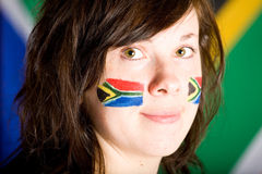 Young female with her cheeks painted, south africa Stock Images