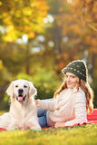 Young female with her dog in park Stock Images