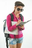 Young female hiker with backpack Royalty Free Stock Photos