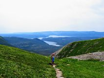A young female hiker climbing near the summit of Gros Morne Mountain, in Gros Morne National Park, Newfoundland and Labrador stock photography