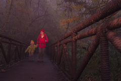 Young female hiker and son crossing bridge in misty forest Royalty Free Stock Photography