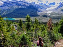 A young female hiker stopping during a hike in the mountains to admire the vast beautiful landscape below her. Including green evergreen forests, a glacier royalty free stock image