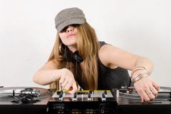 Young female hip-hop dj playing Stock Photos