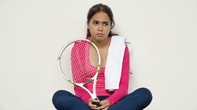Diverse Teenager Sad Athlete. A young female hispanic teen Royalty Free Stock Photos
