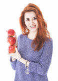 Young female hold three red apples Royalty Free Stock Photo