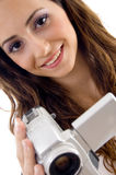 Young female holding handy cam Stock Image