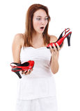 Young female holding her new shoe Royalty Free Stock Image