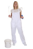 Young female house painter and decorator woman job full body iso. Lated on a white background Royalty Free Stock Photography