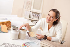 Young female interior designer working at office Royalty Free Stock Photography