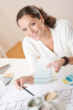 Young female interior designer working at office Royalty Free Stock Images