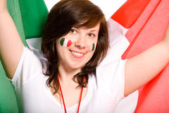 Young female with italian flag as background Royalty Free Stock Image