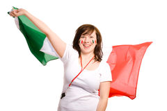 Young female with italian flag, cheer on, isolated Royalty Free Stock Photography