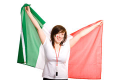 Young female with italian flag, isolated on white Royalty Free Stock Photos