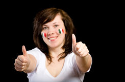 Young female italian team fan isolated on black Stock Photography