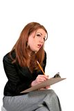 Young Female Job Seeker Filling Out a Form Royalty Free Stock Images