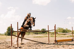 Young female jockey on horse leaping over hurdle Stock Images