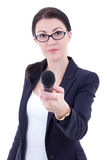 Young female journalist with microphone taking interview isolate. D on white background Royalty Free Stock Photos