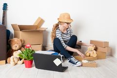 Young female just moved in a new house. Mortgage and loan concept Royalty Free Stock Images