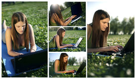 Young female with laptop collage. Portrait of a cute young female lying on the grass in the park using a laptop Royalty Free Stock Photography
