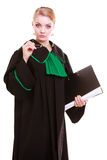 Young female lawyer attorney wearing classic polish black green gown Stock Images