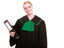 Young female lawyer attorney wearing classic polish black green gown Stock Photography