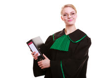 Young female lawyer attorney wearing classic polish black green gown Stock Photo