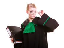 Young female lawyer attorney wearing classic polish black green gown Stock Image