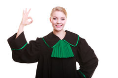 Young female lawyer attorney wearing classic polish black green gown Royalty Free Stock Photography