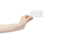 Young female left hand hold blank white paper card. Isolated on white Stock Image