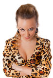 Young female in leopard dress Royalty Free Stock Photography
