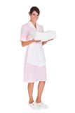 Young Female Maid With Towel Stock Photos