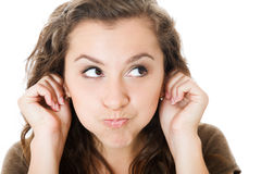 Young female make faces Royalty Free Stock Images
