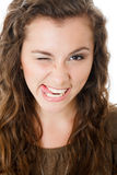 Young female make faces Stock Photography