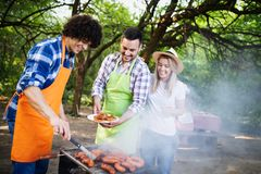 Young female and male couple baking barbecue in nature stock images