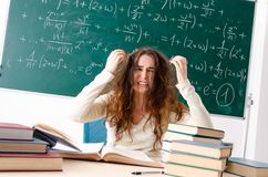 The young female math teacher in front of chalkboard. Young female math teacher in front of chalkboard stock images