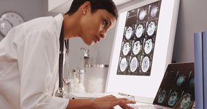 Young female medical assistant looking at x-ray scans stock image