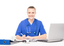 Young female medical worker in an office Stock Image